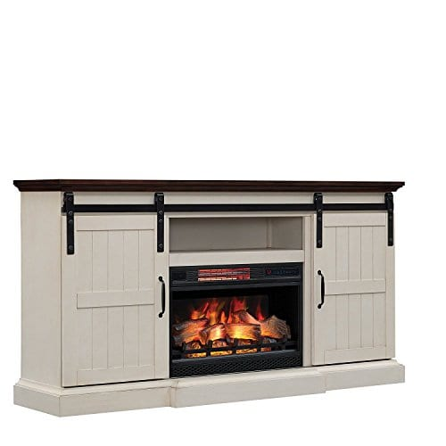 Hogan Electric Fireplace Tv Stand With Logset Weathered White Farmhouse Goals