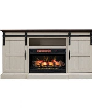 Hogan Electric Fireplace TV Stand With Logset Weathered White 0 300x360