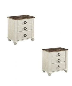 Home Square Set Of 2 Rustic Nightstand In Two Tone 0 300x360