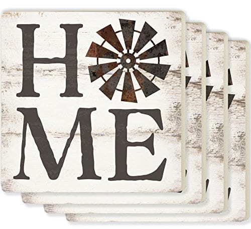 Home Windmill Whitewash Look 4 X 4 Ceramic Coaster 4 Pack 0