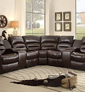 Homelegance 3 Piece Bonded Leather Sectional Reclining Nail Head Accent Sofa 0 0 300x325