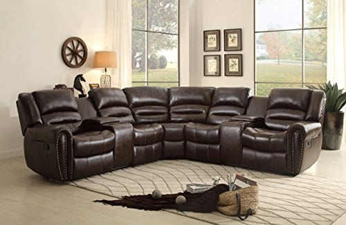Homelegance 3 Piece Bonded Leather Sectional Reclining Nail Head Accent Sofa 0 0
