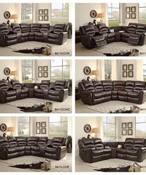 Homelegance 3 Piece Bonded Leather Sectional Reclining Nail Head Accent Sofa 0 1 300x360
