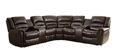 Homelegance 3 Piece Bonded Leather Sectional Reclining Nail Head Accent Sofa 0