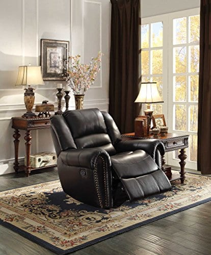 Homelegance 9668BLK 1 Glider Reclining Chair Black Bonded Leather 0 0