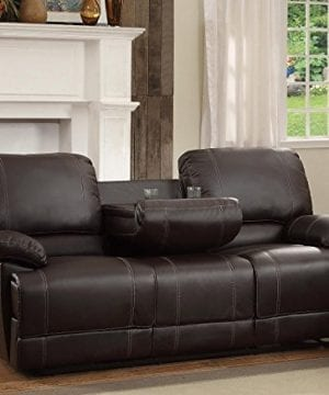 Homelegance Double Reclining Sofa Plush Seating With Drop Down Console Faux Leather Brown 0 0 300x360