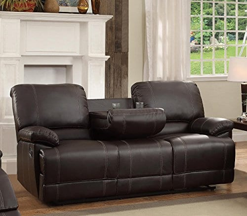 Homelegance Double Reclining Sofa Plush Seating With Drop Down Console Faux Leather Brown 0 0
