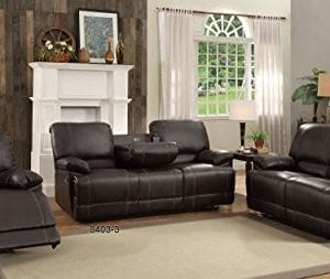Homelegance Double Reclining Sofa Plush Seating With Drop Down Console Faux Leather Brown 0 1 300x253