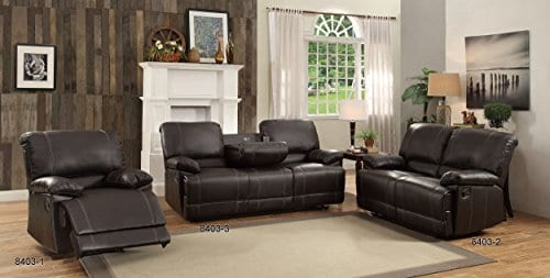 Homelegance Double Reclining Sofa Plush Seating With Drop Down Console Faux Leather Brown 0 1