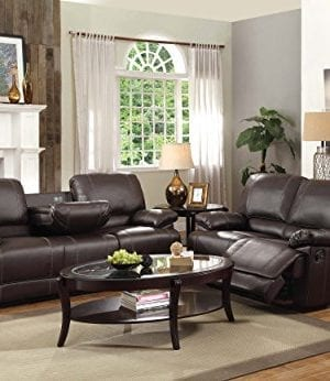 Homelegance Double Reclining Sofa Plush Seating With Drop Down Console Faux Leather Brown 0 2 300x346