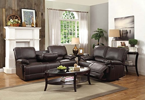 Homelegance Double Reclining Sofa Plush Seating With Drop Down Console Faux Leather Brown 0 2