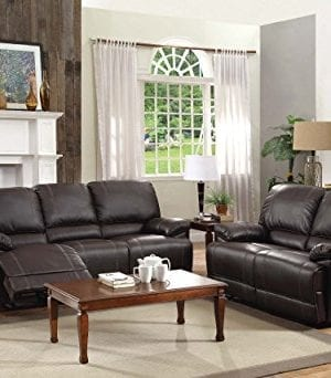 Homelegance Double Reclining Sofa Plush Seating With Drop Down Console Faux Leather Brown 0 3 300x342