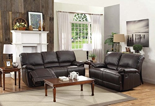 Homelegance Double Reclining Sofa Plush Seating With Drop Down Console Faux Leather Brown 0 3