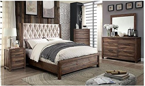 Hutchinson Transitional Style Rustic Natural Tone Finish 6-Piece Bedroom Set