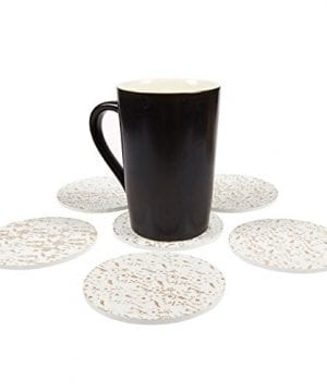 Juvale Wood Coasters 6 Pack Round Wooden Coasters With Holder White Floral Design 38 Inches Diameter 0 0 300x360