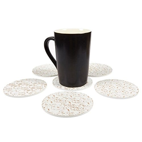 Juvale Wood Coasters 6 Pack Round Wooden Coasters With Holder White Floral Design 38 Inches Diameter 0 0