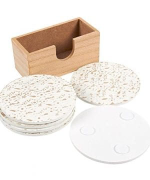 Juvale Wood Coasters 6 Pack Round Wooden Coasters With Holder White Floral Design 38 Inches Diameter 0 1 300x360