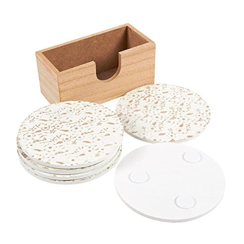 Juvale Wood Coasters 6 Pack Round Wooden Coasters With Holder White Floral Design 38 Inches Diameter 0 1