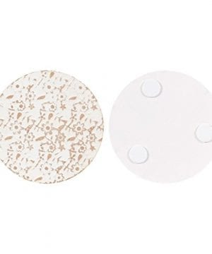 Juvale Wood Coasters 6 Pack Round Wooden Coasters With Holder White Floral Design 38 Inches Diameter 0 2 300x360