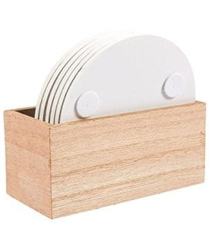 Juvale Wood Coasters 6 Pack Round Wooden Coasters With Holder White Floral Design 38 Inches Diameter 0 3 300x360