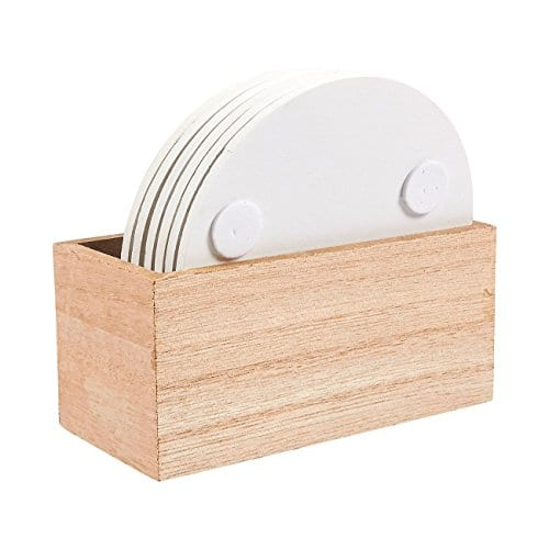 Juvale Wood Coasters 6 Pack Round Wooden Coasters With Holder White Floral Design 38 Inches Diameter 0 3