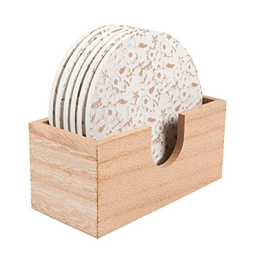 Juvale Wood Coasters 6 Pack Round Wooden Coasters With Holder White Floral Design 38 Inches Diameter 0