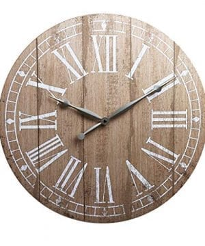 20 Rustic Light Natural Wood Plank Frameless Farmhouse Wall Clock 0 300x360
