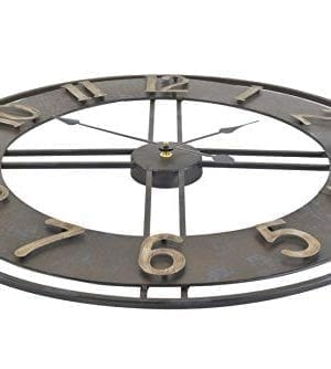 236 Inch Oversized Rustic Vintage Metal Silent Non Ticking Battery Operated Decorative Wall Clock With Large Arabic Numerals 0 0 300x334