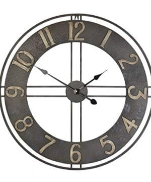 236 Inch Oversized Rustic Vintage Metal Silent Non Ticking Battery Operated Decorative Wall Clock With Large Arabic Numerals 0 300x360