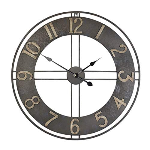 236 Inch Oversized Rustic Vintage Metal Silent Non Ticking Battery Operated Decorative Wall Clock With Large Arabic Numerals 0