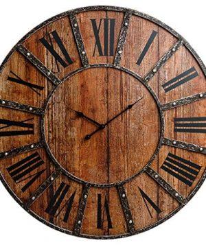 30 Rustic Wood Plank And Metal Frameless Farmhouse Wall Clock 0 300x360