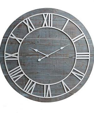 36 Rustic Washed Gray Wood Plank Frameless Wall Clock 0 300x360