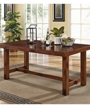 6 Piece Solid Wood Dining Set Dark Oak 0 1 300x360