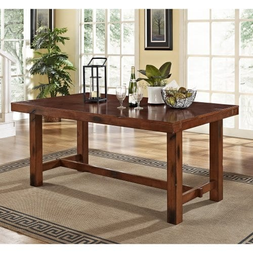 6 Piece Solid Wood Dining Set Dark Oak 0 1