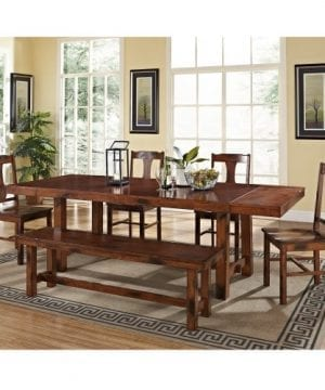 6 Piece Solid Wood Dining Set Dark Oak 0 300x360