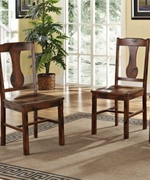 6 Piece Solid Wood Dining Set Dark Oak 0 5 300x360