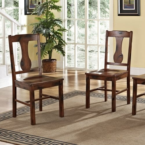 6 Piece Solid Wood Dining Set Dark Oak 0 5