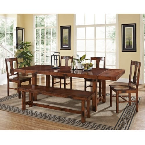 Walker Edison Furniture Rustic Farmhouse Rectangle Wood Dining Room Table Set With Leaf Extension Brown Oak Farmhouse Goals