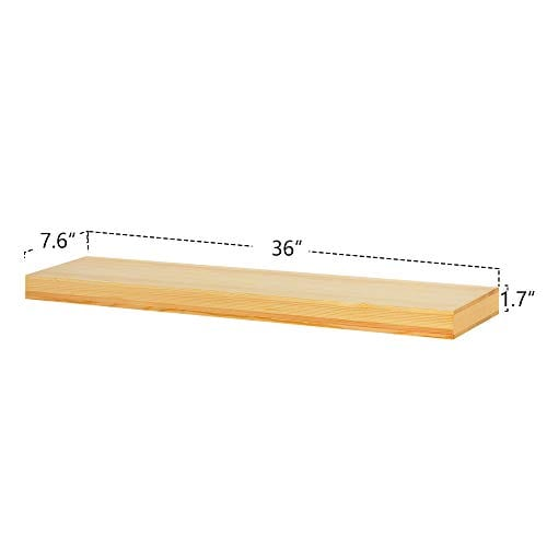 AHDECOR Natural Wood Deep Floating Wall Shelves Solid Pine Display Ledge Shelf Storage With Invisible Blanket 36 Inch Clear Coat Finish 0 2