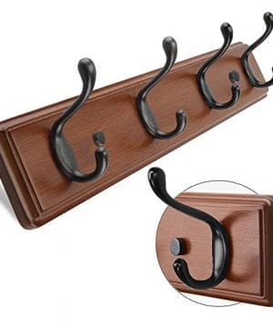 ANNSY Cool Coat Rack Natural Bamboo Hook Racks Wall Mounted Heavy Duty Hanger Hook Rack For Home And Office Brown 4 Hooks 0 0 300x360