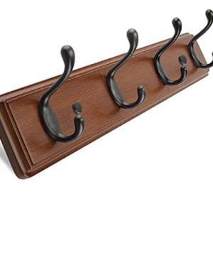 ANNSY Cool Coat Rack Natural Bamboo Hook Racks Wall Mounted Heavy Duty Hanger Hook Rack For Home And Office Brown 4 Hooks 0 300x360