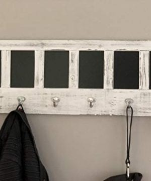 AVIGNON HOME Chalkboard Labels Rustic Brown Torched Wood Finish Wall Mounted Coat Hooks Hanger Coat Rack 33X11 0 1 300x360