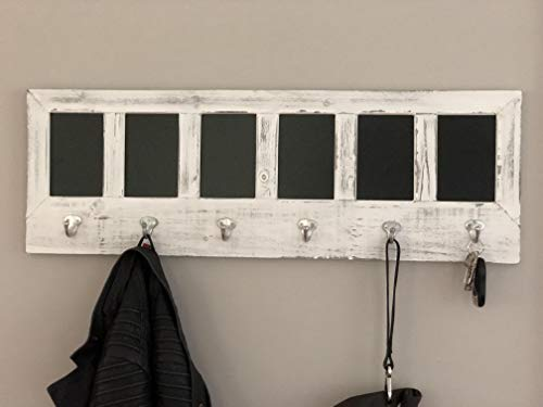 AVIGNON HOME Chalkboard Labels Rustic Brown Torched Wood Finish Wall Mounted Coat Hooks Hanger Coat Rack 33X11 0 1