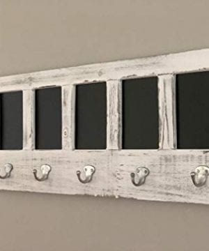 AVIGNON HOME Chalkboard Labels Rustic Brown Torched Wood Finish Wall Mounted Coat Hooks Hanger Coat Rack 33X11 0 3 300x360