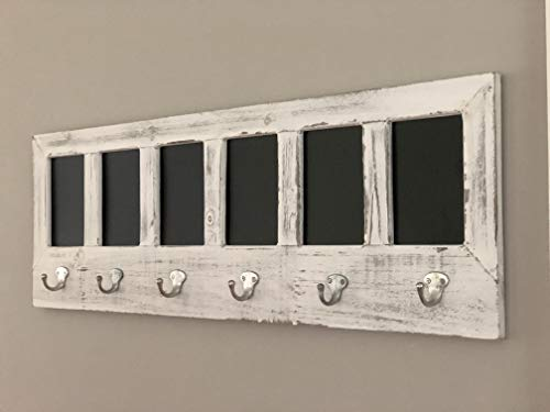 AVIGNON HOME Chalkboard Labels Rustic Brown Torched Wood Finish Wall Mounted Coat Hooks Hanger Coat Rack 33X11 0 3