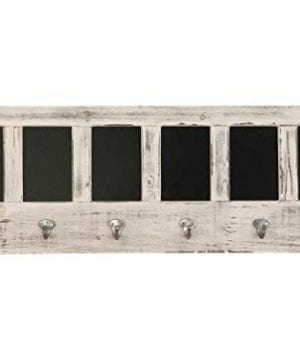 AVIGNON HOME Chalkboard Labels Rustic Brown Torched Wood Finish Wall Mounted Coat Hooks Hanger Coat Rack 33X11 0 300x360