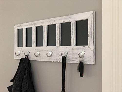 AVIGNON HOME Chalkboard Labels Rustic Brown Torched Wood Finish Wall Mounted Coat Hooks Hanger Coat Rack 33X11 0 4