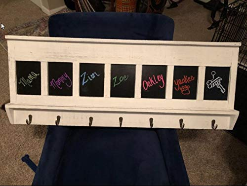 AVIGNON HOME Chalkboard Labels Rustic Brown Torched Wood Finish Wall Mounted Coat Hooks Hanger Coat Rack 33X11 0 5