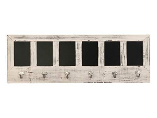 AVIGNON HOME Chalkboard Labels Rustic Brown Torched Wood Finish Wall Mounted Coat Hooks Hanger Coat Rack 33X11 0
