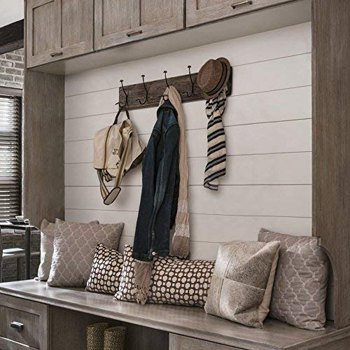 AVIGNON HOME Rustic Coat Rack With Hooks Vintage Wooden Wall Mounted Coat Rack 38 Inches Wide And 7 Inches High For Entryway Bathroom And Closet 0 0